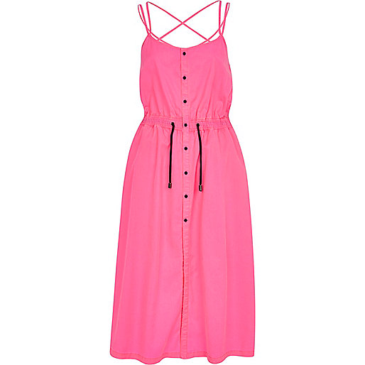Bright pink strappy midi cami dress
