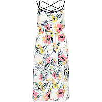White floral print strappy cami midi dress