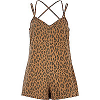 Brown animal print denim playsuit