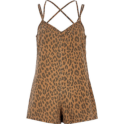 brown animal printed playsuit
