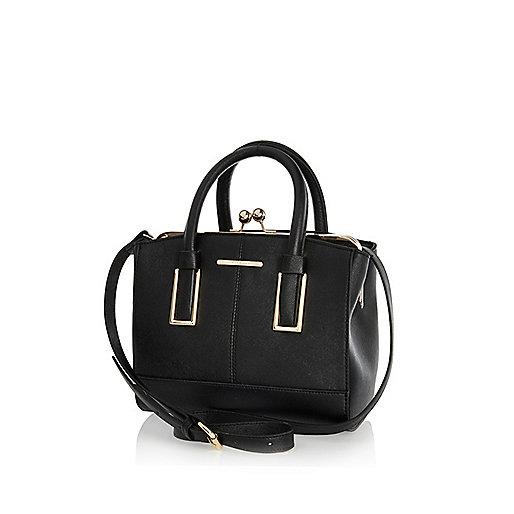 Black mini structured tote bag