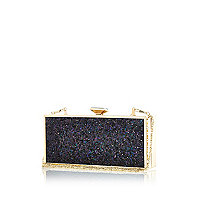 Black glittery box clutch bag