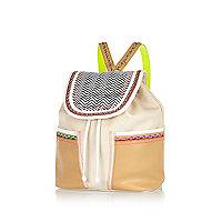 Cream woven trim rucksack