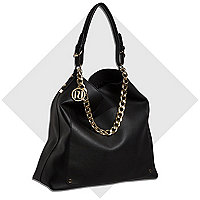 Black chain trim large slouch bag