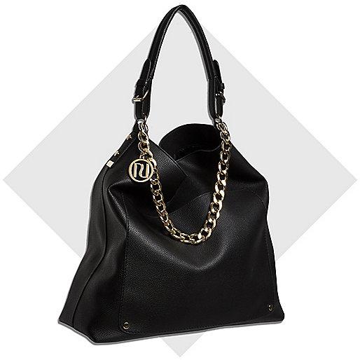 Black chain trim large slouch bag