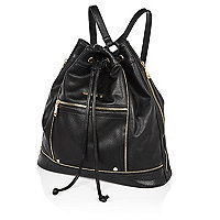 Black drawstring top backpack