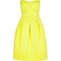 Yellow bandeau prom dress