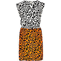 Orange animal print dress