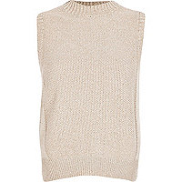 Light pink turtle neck knitted tank top