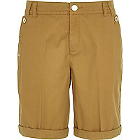 Beige long chino shorts