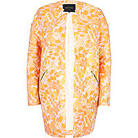 Orange floral jacquard coat