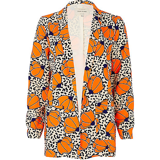 Orange polka dot floral print blazer