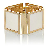 White and gold tone clamp bracelet