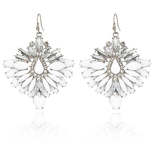 Silver tone crystal drop earrings