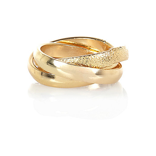 Gold tone interlinked thumb ring