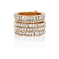 Gold tone crystal hinge ring