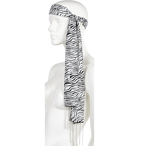 Black and white zebra print hair scarf
