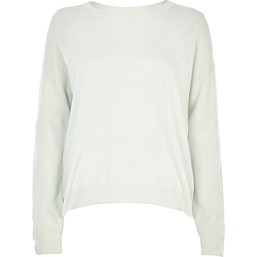 Light green woven back jumper