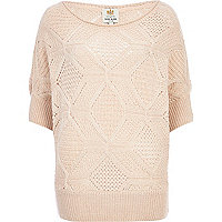 Cream geometric knit slouchy jumper