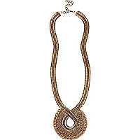Gold tone retro twist long necklace