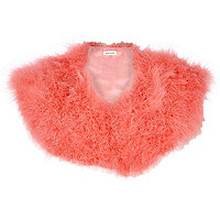 Coral Marabou feather collar