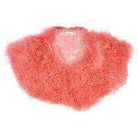 Coral Marabou feather collar