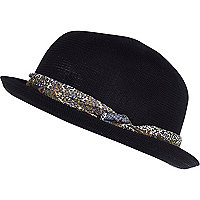 Black scarf trim soft bowler hat