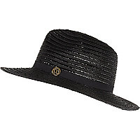 Black metallic braid fedora hat