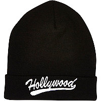 Black Hollywood beanie hat