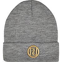 Grey RI logo beanie hat