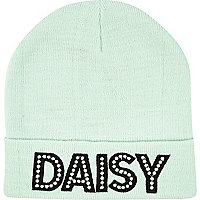 Light green daisy printed beanie