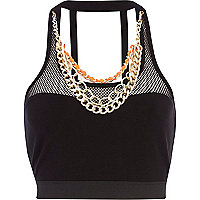 Black Pacha mesh chain trim crop top