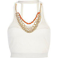White Pacha mesh chain trim crop top
