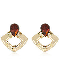 Brown tortoise shell retro earrings