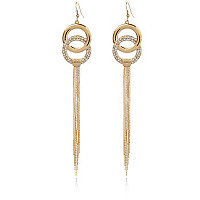 Gold tone encrusted circle earrings