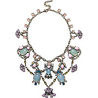 Pink jewel embellished statement necklace