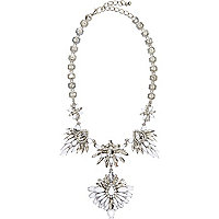 White clustered gem stone statement necklace