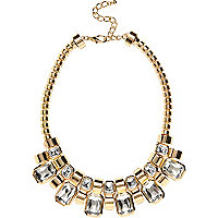 Gold tone embellished statement necklace