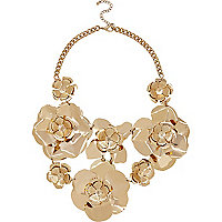 Gold tone oversized flower statement necklace