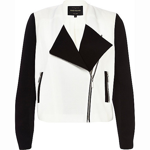 Black and white colour block biker jacket