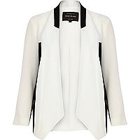 White colour block collarless jacket