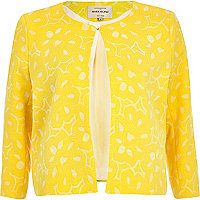 Yellow floral laser cut cropped jacket