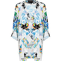 White abstract print waterfall jacket