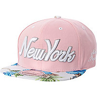 Light pink New York floral trucker hat