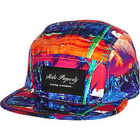 Red abstract print trucker hat