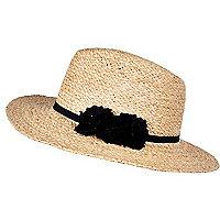 Raffia floral trim fedora hat
