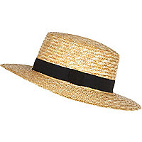 Cream oversized straw boater hat