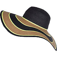Black striped raffia oversized floppy hat