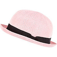 Light pink soft bowler hat