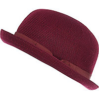 Dark red soft bowler hat